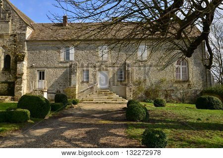 Serans France - march 14 2016 : the presbytery placed side by side the church