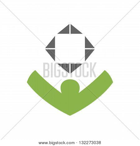 Abstract gamer with gamepad icon vector illustration isolated on white background.