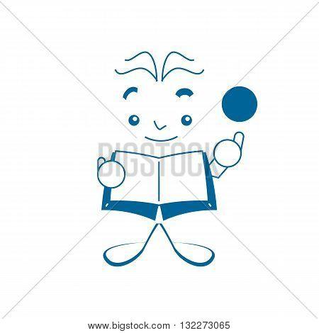 Cartoon style blue genius book like vector illustration isolated on white backgorund.
