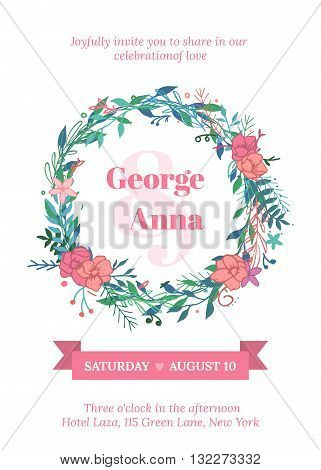 Vector invitation with handmade floral elements and beautiful letters. Wedding Collection. Gentle hipster invitation to the feast.