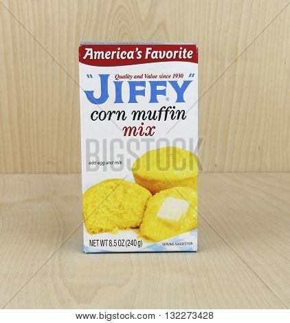 Spencer Wisconsin June 1 2016 Box of Jiffy Corn Muffin Mix Jiffy is a brand of baking mixes marketed by the Chelsea Milling Company