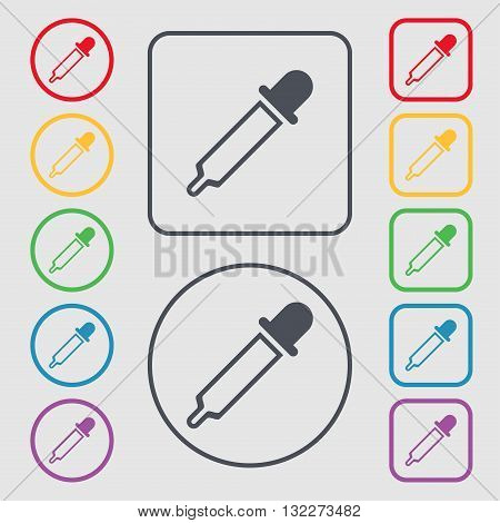 Pipette Icon Sign. Symbol On The Round And Square Buttons With Frame. Vector