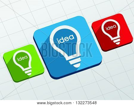 idea in light bulbs signs - white text and symbols in colorful flat design blocks, business creative concept, vector