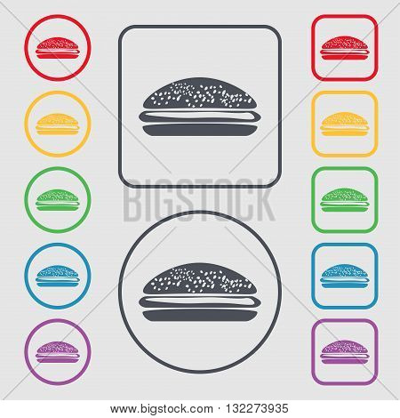Burger, Hamburger Icon Sign. Symbol On The Round And Square Buttons With Frame. Vector
