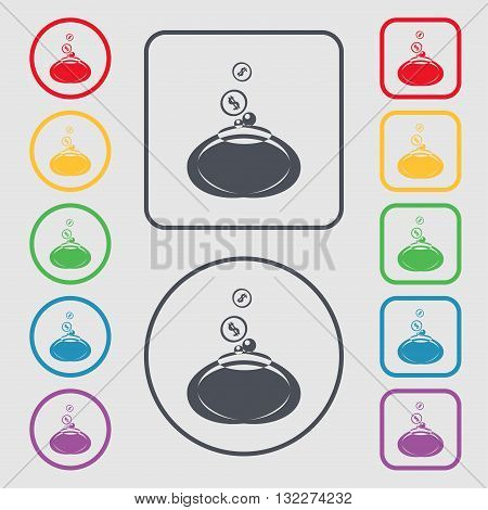 Retro Purse Icon Sign. Symbol On The Round And Square Buttons With Frame. Vector