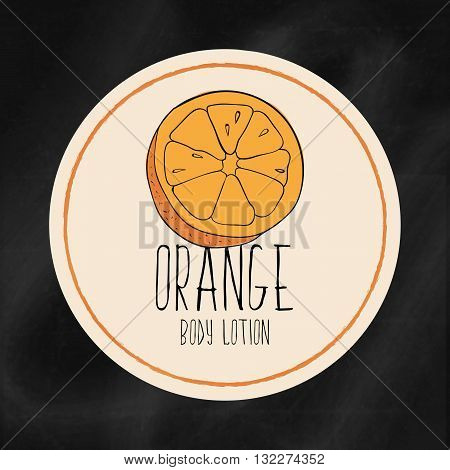 A set of labels with frames for beauty and health. Orange moisturizing lotion for body and hands. Vector Tags