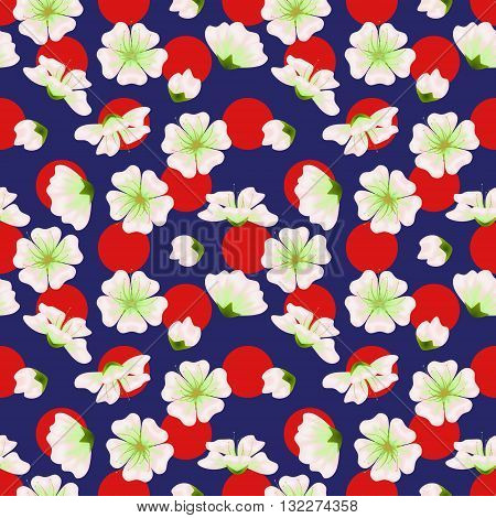 Vector seamless sakura pattern. Realistic floral design in polka dot background for menu invitation greeting cards websites brochures booklets wallpapers in japanese style. Hanami festival spring flowers