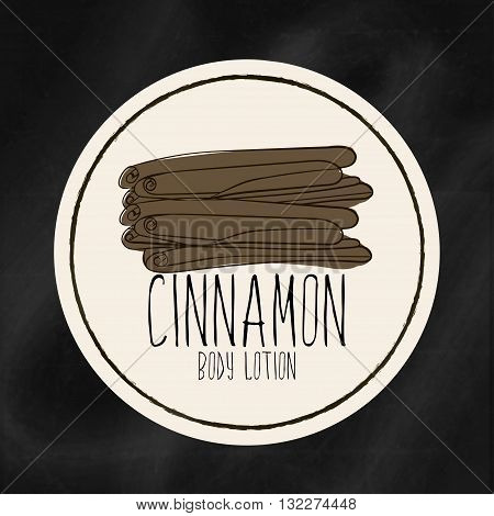 A set of labels with frames for beauty and health. Cinnamon moisturizing lotion for body and hands. Vector