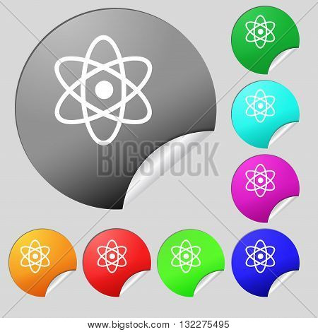 Atom, Physics Icon Sign. Set Of Eight Multi Colored Round Buttons, Stickers. Vector