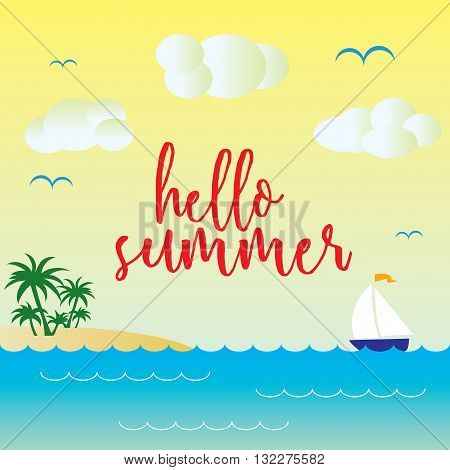 Hello Simmer Vector Template Illustration with beach and sea.