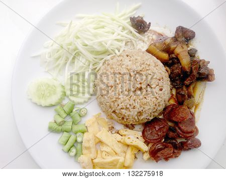Rice Mixed With Shrimp Paste.