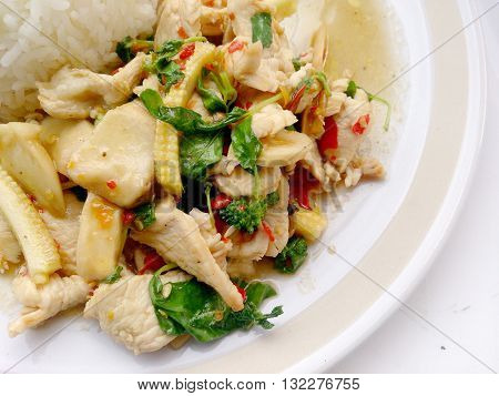 Thai Food Rice And Chicken Curry With Basil Leaves. Spicy Thai Dish. Kao Pad Kra Prao In Thai.