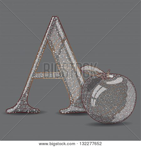 Vector illustration of abc with apple. Illustration 10 version