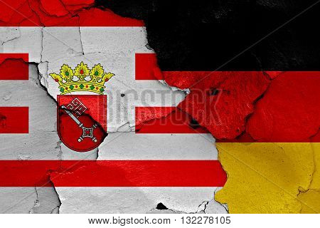 Flags Of Bremen And Germany Painted On Cracked Wall