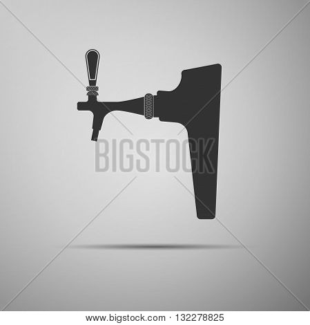 Beer tap icon on gray background. Vector Illustration