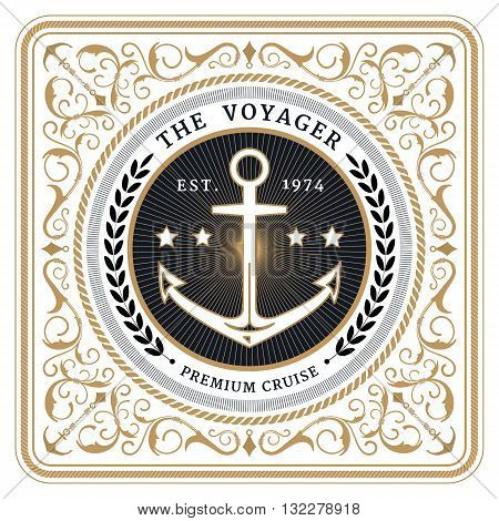 Nautical the voyager retro white card with Square Frame
