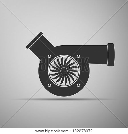 Automotive turbocharger icon on gray background. Vector Illustration