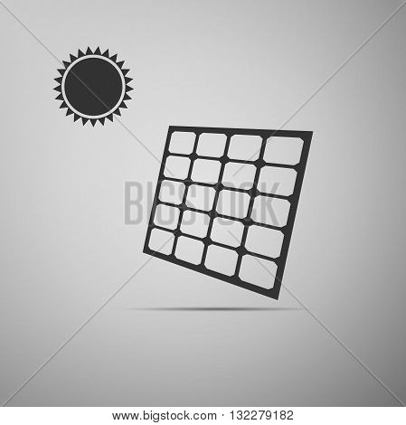 Solar energy panel icon on gray background. Vector illustration