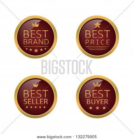 Golden best labels. Best brand, best seller, best buyer, best price