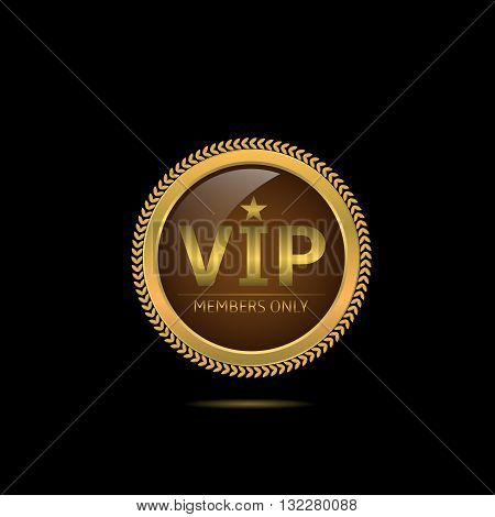 VIP. Member only. Golden luxury badge for vip person, Business concept