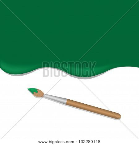 Green background with paintbrush. Green paint. Brush tool