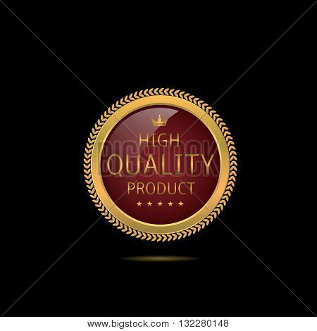 High quality product. Golden badge with stars and crown, Business concept