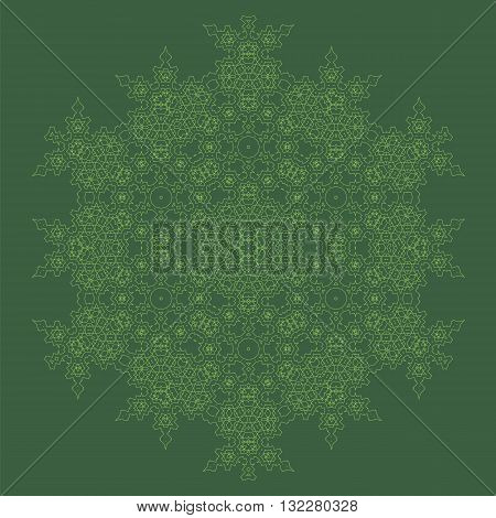 Mandala Isolated on Green Background. Round Ornament