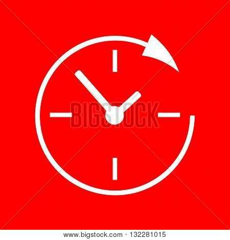 Service and support for customers around the clock and 24 hours. White icon on red background.