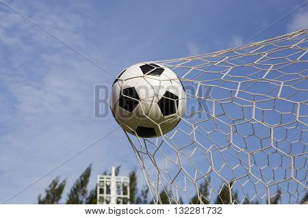 Soccer foot ball in the goal net