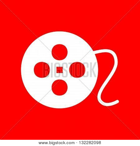 Film circular sign. White icon on red background.