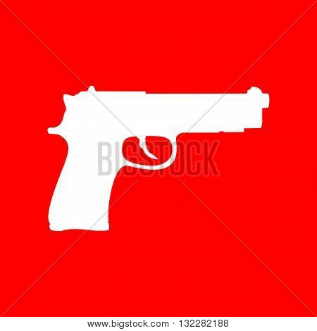 Gun sign illustration. White icon on red background.