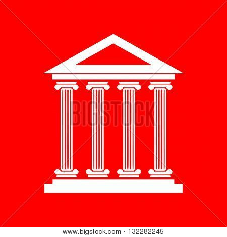 Historical building illustration. White icon on red background.