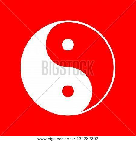 Ying yang symbol of harmony and balance. White icon on red background.
