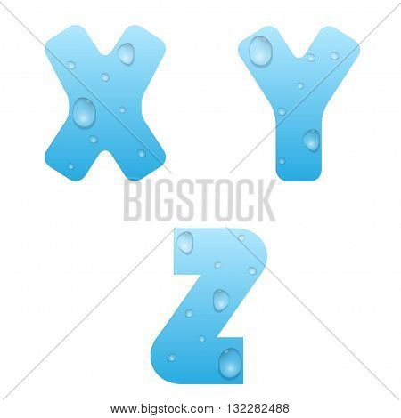 Alphabet with water drops. Blue water letters