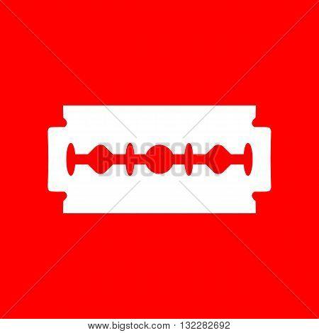 Razor blade sign. White icon on red background.