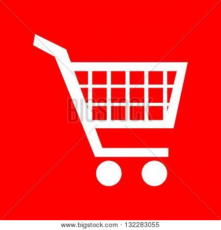 Shopping cart sign. White icon on red background.