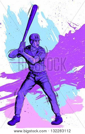 Concept of sportsman playing Baseball. Vector illustration