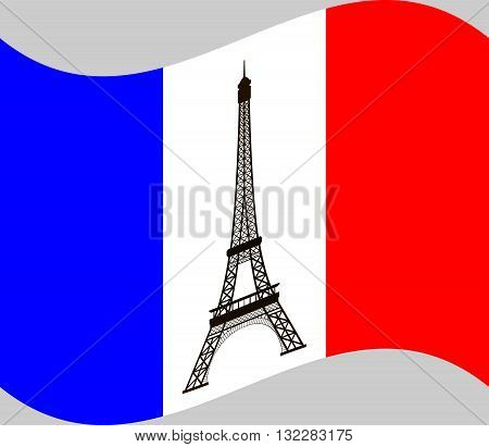Eiffel tower on background of France flag. France flag with the Eiffel tower in the center of it. Vector illustration.
