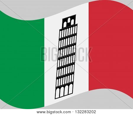 Pisa tower on background of Italy flag. Rome attraction Pisa tower symbol. Vector illustration.