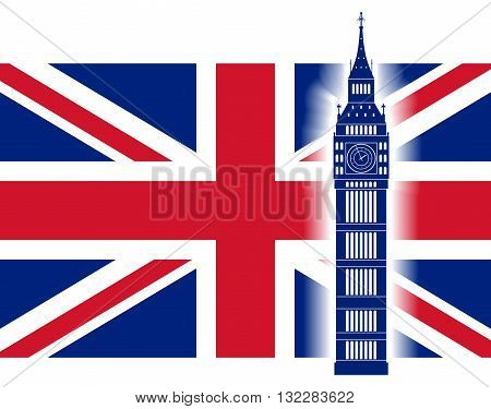 Big ben on background of Great Britain flag. British Union Jack flag and big ben tower. Vector illustration.