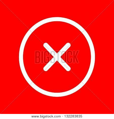 Cross sign illustration. White icon on red background.