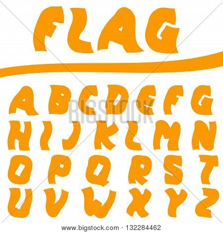 Orange Twisted letters. Creative font, Vector illustration