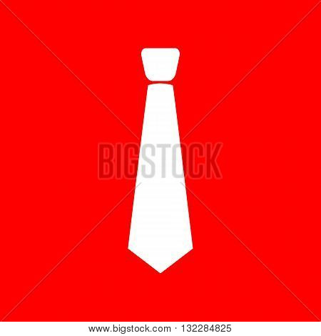 Tie sign illustration. White icon on red background.