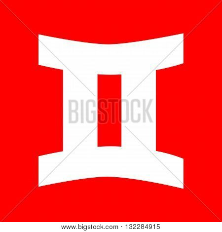 Gemini sign. White icon on red background.