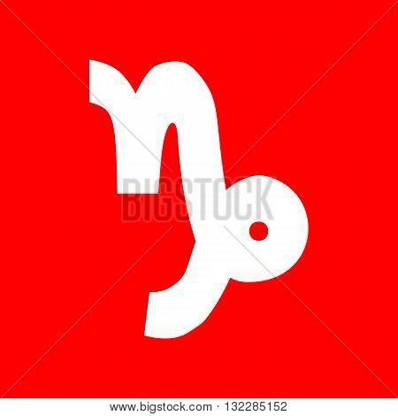 Capricorn sign illustration. White icon on red background.