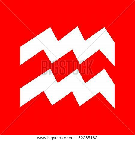 Aquarius sign illustration. White icon on red background.