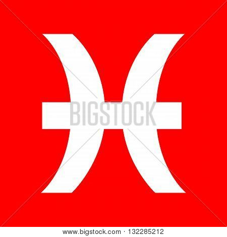 Pisces sign illustration. White icon on red background.