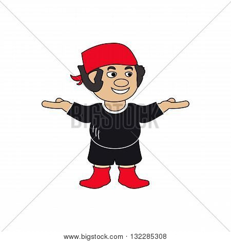 Cartoon style pirate character with red hat and boots vector illustration isolated on white backgorund.