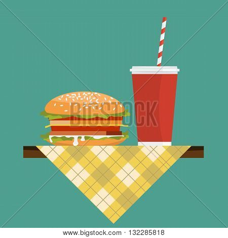 Hamburger with soda on napkin over table. Cup wiht straw. Flat color vector.