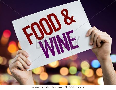 Food & Wine placard with night lights on background